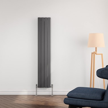 Brenton Flat Panel Vertical Designer Radiator - Single Panel - Anthracite - 1600 x 292mm