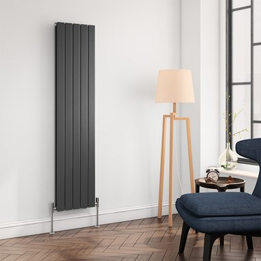 Brenton Flat Panel Vertical Designer Radiator - Double Panel - Anthracite - 1600 x 366mm
