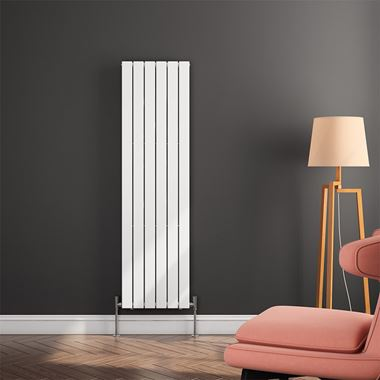 Brenton Flat Panel Vertical Designer Radiator - Single Panel - White - 1600 x 440mm