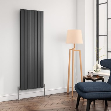 Brenton Flat Panel Vertical Designer Radiator - Double Panel - Anthracite - 1600 x 514mm