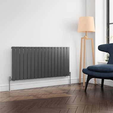 Brenton Flat Panel Horizontal Designer Radiator - Single Panel - Anthracite - 600 x 1254mm