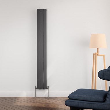 Brenton Flat Panel Vertical Designer Radiator - Single Panel - Anthracite - 1800 x 218mm