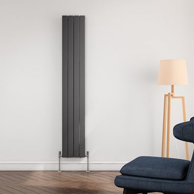 Brenton Flat Panel Vertical Designer Radiator - Single Panel - Anthracite - 1800 x 292mm
