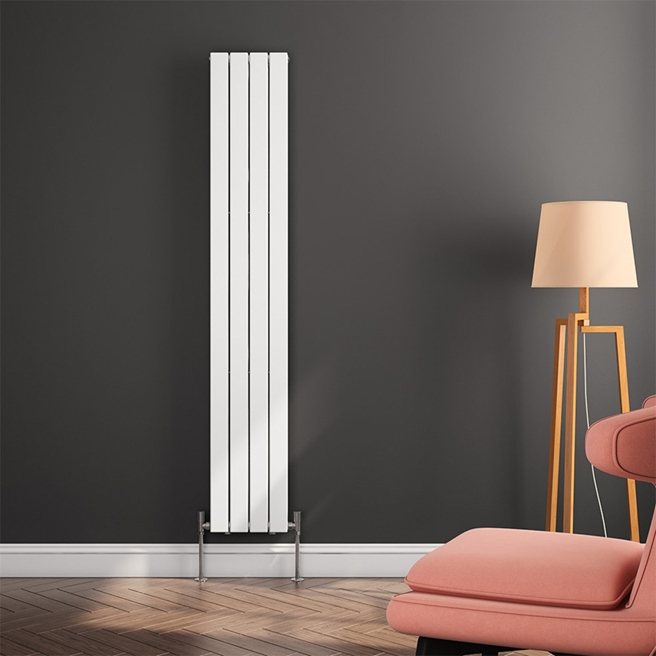 Reina Flat Panel Vertical Designer Radiator - White - 1800 x 292mm