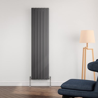Brenton Flat Panel Vertical Designer Radiator - Single Panel - Anthracite - 1800 x 440mm