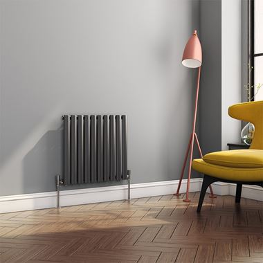 Brenton Oval Tube Horizontal Designer Radiator - Single Panel - Anthracite - 550 x 590mm