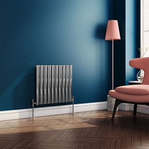 Brenton Steel Horizontal Oval Tube Designer Radiator - Chrome - 550 x 590mm