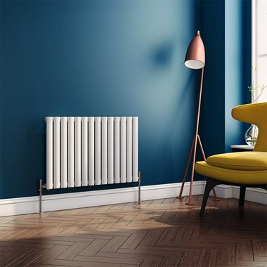 Brenton Oval Tube Horizontal Designer Radiator - Single Panel - White - 550 x 826mm