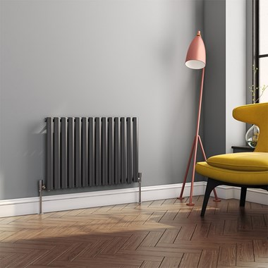 Brenton Oval Tube Horizontal Designer Radiator - Single Panel - Anthracite - 550 x 826mm
