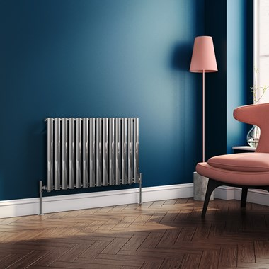 Brenton Steel Horizontal Oval Tube Designer Radiator - Chrome - 550 x 826mm