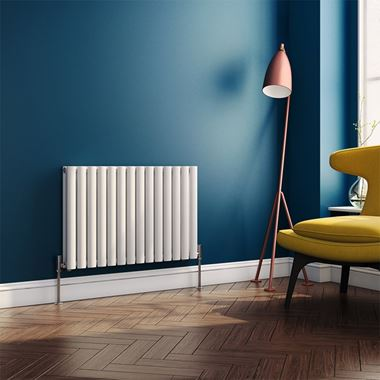 Brenton Oval Tube Horizontal Designer Radiator - Double Panel - White - 550 x 826mm
