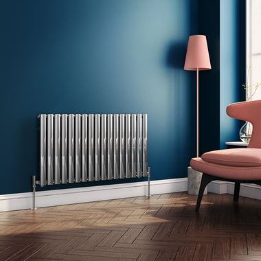 Brenton Steel Horizontal Oval Tube Designer Radiator - Chrome - 550 x 1003mm