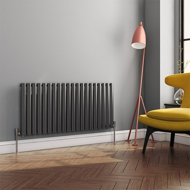 Brenton Oval Tube Horizontal Designer Radiator - Single Panel - Anthracite - 550 x 1180mm