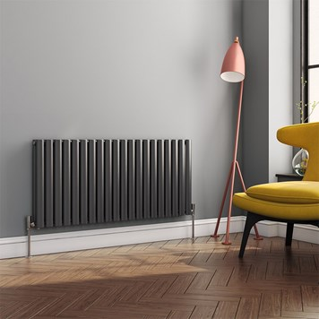 Brenton Oval Tube Horizontal Designer Radiator - Double Panel - Anthracite - 550 x 1180mm