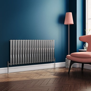 Brenton Steel Horizontal Oval Tube Designer Radiator - Chrome - 550 x 1180mm