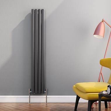 Brenton Oval Tube Vertical Designer Radiator - Single Panel - Anthracite - 1500 x 236mm