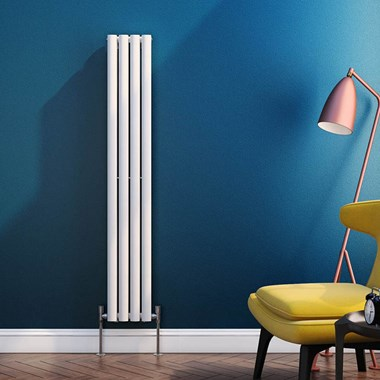 Brenton Oval Tube Vertical Designer Radiator - Single Panel - White - 1500 x 236mm