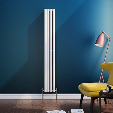 Brenton Oval Tube Vertical Designer Radiator - Single Panel - White - 1800 x 236mm
