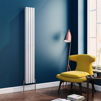 Brenton Oval Tube Vertical Designer Radiator - Double Panel - White - 1800 x 236mm
