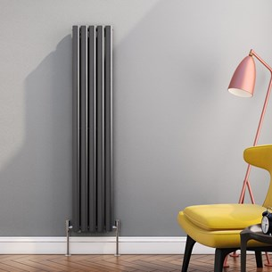 Brenton Oval Tube Vertical Designer Radiator - Single Panel - Anthracite - 1500 x 295mm