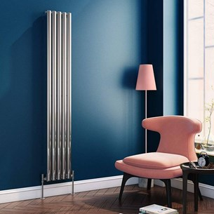 Brenton Steel Vertical Oval Tube Designer Radiator - Chrome - 1800 x 295mm