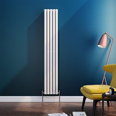 Brenton Oval Tube Vertical Designer Radiator - Single Panel - White - 1800 x 295mm