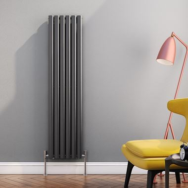 Brenton Oval Tube Vertical Designer Radiator - Single Panel - Anthracite - 1500 x 354mm