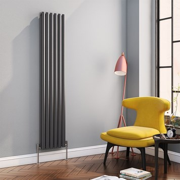 Brenton Oval Tube Vertical Designer Radiator - Double Panel - Anthracite - 1800 x 354mm