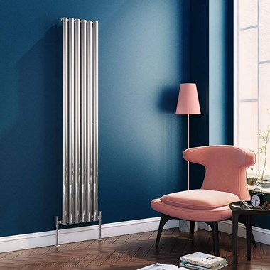 Brenton Steel Vertical Oval Tube Designer Radiator - Chrome - 1800 x 354mm