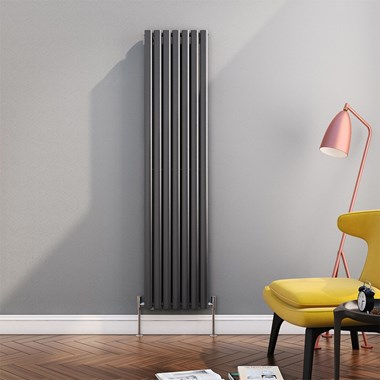 Brenton Oval Tube Vertical Designer Radiator - Single Panel - Anthracite - 1800 x 413mm