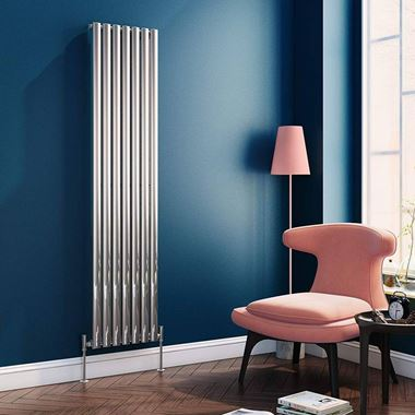 Brenton Steel Vertical Oval Tube Designer Radiator - Chrome - 1800 x 413mm