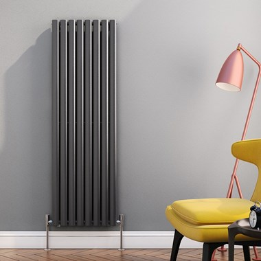 Brenton Oval Tube Vertical Designer Radiator - Single Panel - Anthracite - 1500 x 472mm