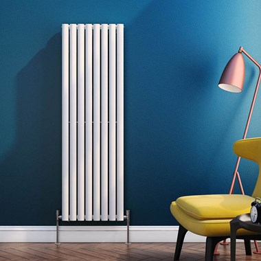 Brenton Oval Tube Vertical Designer Radiator - Single Panel - White - 1500 x 472mm
