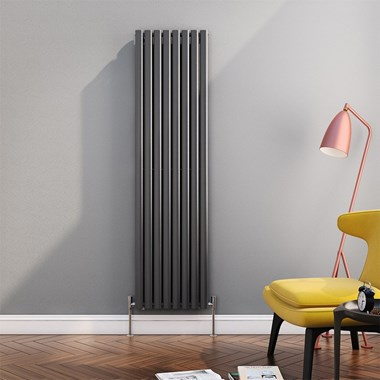 Brenton Oval Tube Vertical Designer Radiator - Single Panel - Anthracite - 1800 x 472mm