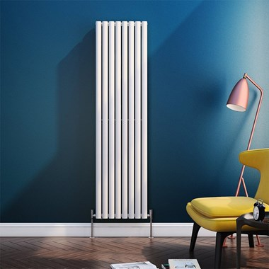 Brenton Oval Tube Vertical Designer Radiator - Single Panel - White - 1800 x 472mm