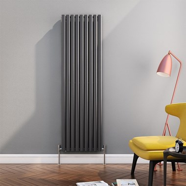 Brenton Oval Tube Vertical Designer Radiator - Single Panel - Anthracite - 1800 x 531mm