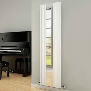 Reina Reflect Vertical Designer Wall Mounted Mirrored Radiator - 1800x445