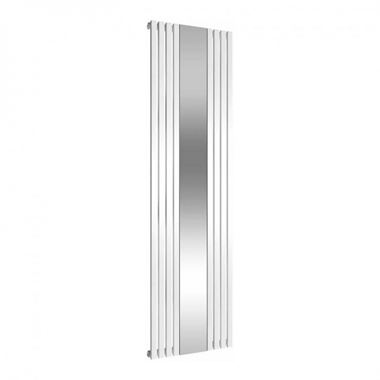 Reina Reflect Vertical Designer Wall Mounted Mirrored Radiator - White - 1800x445
