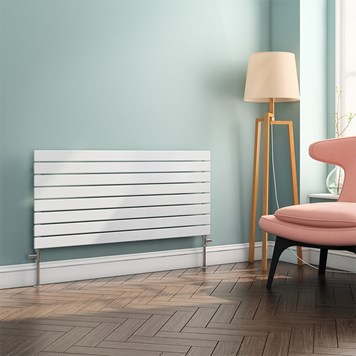 Brenton Ruby Flat Panel Horizontal Designer Radiator - White - 550x1200