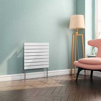 Brenton Ruby Flat Panel Horizontal Designer Radiator - White - 550x600