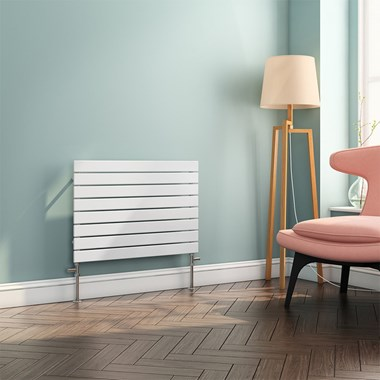 Brenton Ruby Flat Panel Horizontal Designer Radiator - White - 550x800