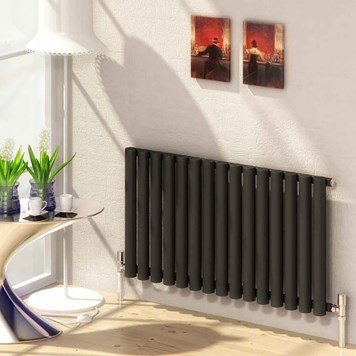 Reina Sena Single Panel Horizontal Designer Steel Radiator - Black