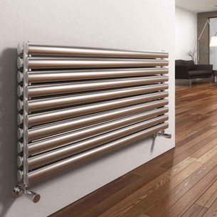 Reina Artena Double Panel Horizontal Designer Stainless Steel Radiator - Satin - 590x800