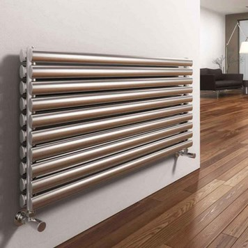 Reina Artena Double Panel Horizontal Designer Stainless Steel Radiator - Satin - 590x1000