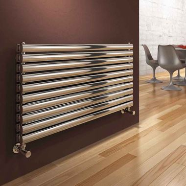 Reina Artena Double Panel Horizontal Designer Stainless Steel Radiator - Polished - 590x600