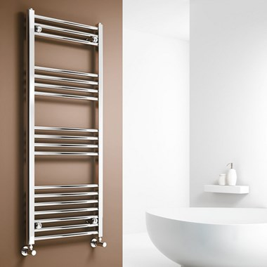 Brenton Chrome Straight Heated Towel Radiator - 22mm - 1000 x 500mm