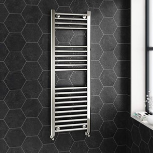 Brenton Chrome Straight Heated Towel Radiator - 22mm - 1200 x 400mm