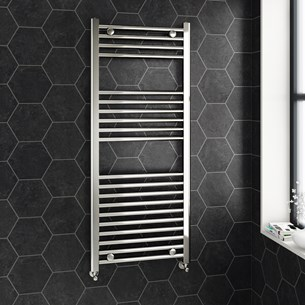 Brenton Chrome Straight Heated Towel Radiator - 22mm - 1200 x 500mm