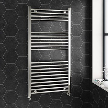 Brenton Chrome Straight Heated Towel Radiator - 22mm - 1200 x 600mm