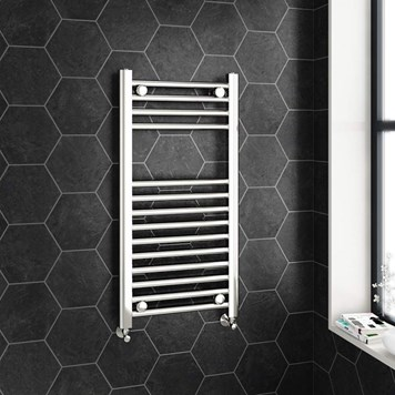Brenton Chrome Straight Heated Towel Radiator - 22mm - 800 x 400mm